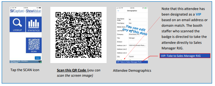SCAN A BADGE. Scan barcodes, QR codes, or read NFC badges.