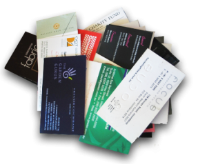 No scannable badge no worries showvalue inc the booth rep talks with a prospect and collects a business card the card is bundled with a bunch of other business cards reheart Choice Image